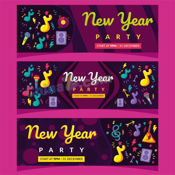 新年派对横幅矢量设计