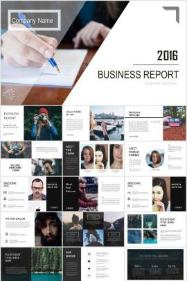 創意雜志簡約歐美商務PPT模板