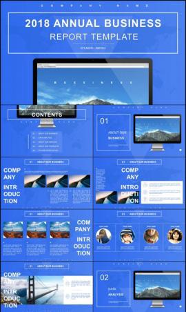 動態簡約藍色商務匯報PPT模板