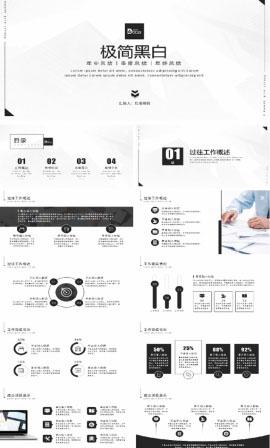 黑白極簡商務工作匯報PPT模板