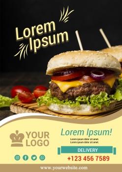 牛肉漢堡主題宣傳單設計