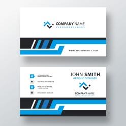 藍色商務橫版名片模板設計