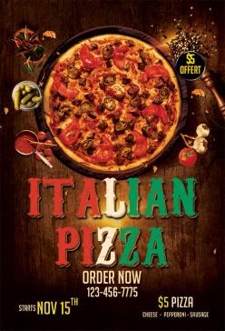 意大利披薩英文宣傳單模板