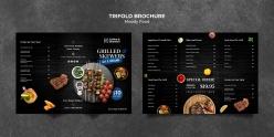 牛排燒烤店三折頁菜單模板