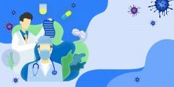 藍色醫療抗擊疫情海報背景ps素材