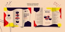 壽司店三折頁菜單模板