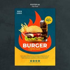 超级汉堡美食宣传活动海报