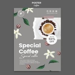 咖啡垂直海報模板PSD
