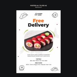 美味寿司PSD食物宣传单