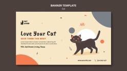 手繪貓咪卡通海報設計