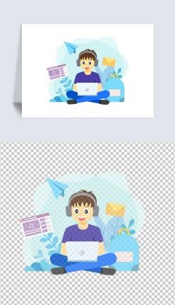 看電腦的男孩插畫
