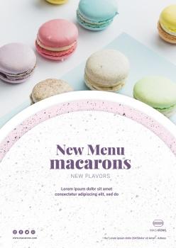 馬卡龍甜品菜單模板PSD
