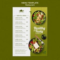 健康食品餐廳菜單模板