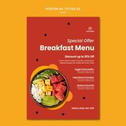 早餐餐廳菜單模板設計