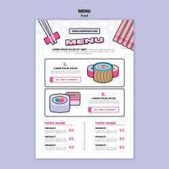 美食壽司菜單模板設計