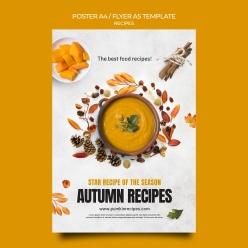 秋季美食海報模板PS