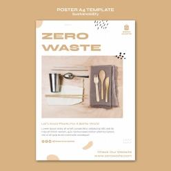 零浪費生活方式海報模板設計