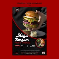 美味漢堡PSD廣告海報