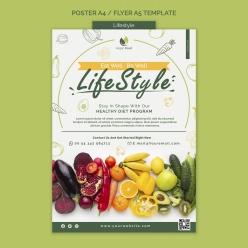 健康飲食生活海報模板設計